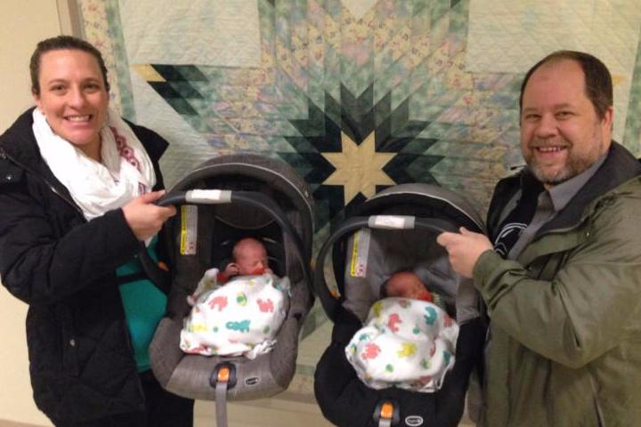 Amy and Lee with the twins